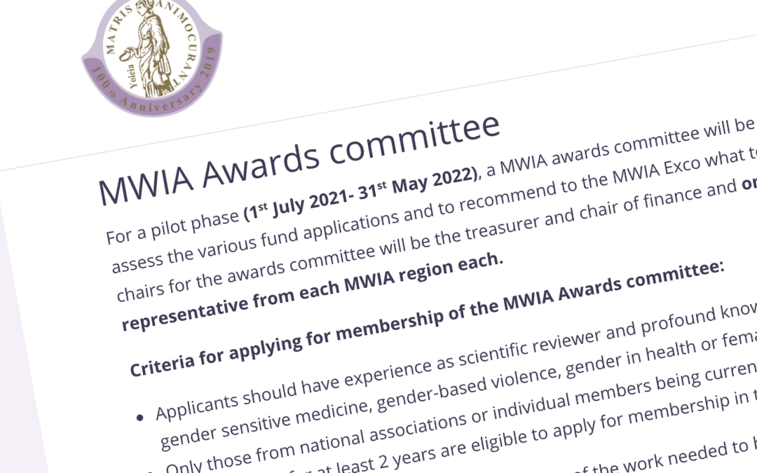 Call for membership on the MWIA awards committee is out now!