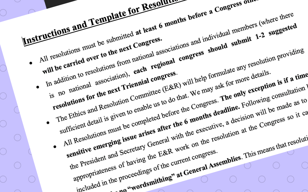 Resolutions/motions to the MWIA General Assembly in Taipei June 24 2022 are open for submission