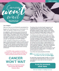 Please see the Cancer Won't Wait poster