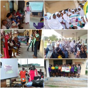 Activities done to celebrate World Population Day in 5 of the 15 facilities nationwide with sensitization on Family Planning and Neonatal Tetanus. Top left: National President sensitizing mothers at immunization clinic Idumuje-Unor CHC Delta adopted facility Top right: Dr. F. Abdulqadir with students after addressing them at Government Girls' Secondary School, Tudun Wada Gusau, Zamfara Middle left: Dr. Idih and others sensitizing women in Imo State adopted health facility, FMC Owerri. Middle right: Hajiya F. Saidu sensitizing women at the PHC Old Airport Road, Minna, Niger State. Lower left: MWAN Oyo State President (Dr. Olusola-Taiwo) playing one of the jingles for mothers at the PHC Idi Ogungun immunisation clinic Lower right: students of All Saints College, Gbekuba, Ibadan took a picture after Dr. Ade-Onojobi addressed them.