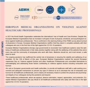 CPME July 2021 newsletter-article on violence against healthcare professionals.